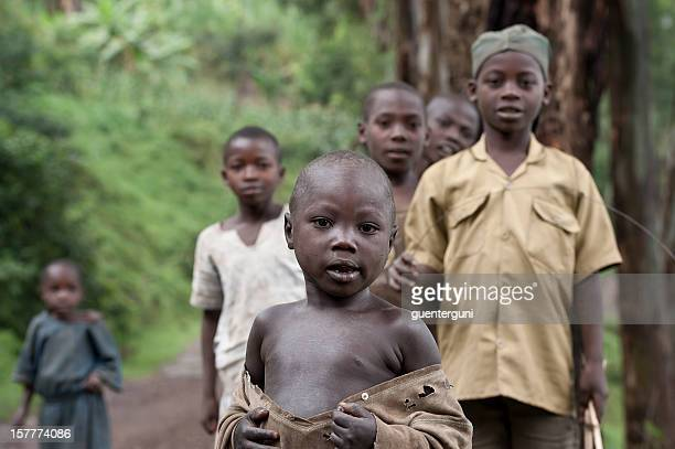 Group of African children watching curious