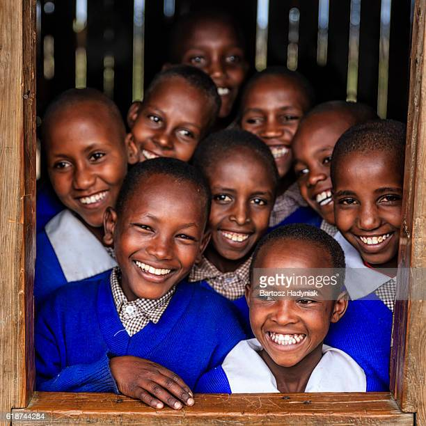 Group of African school children inside classroom, Kenya