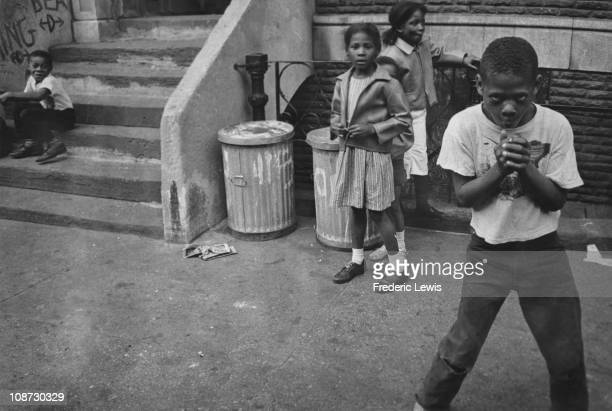 A group of AfricanAmerican children Harlem New York City circa 1970