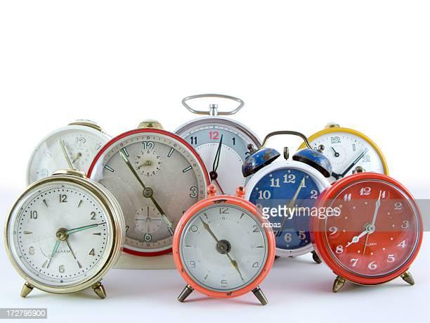 Group of alarm clocks