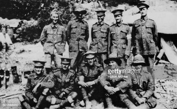 A group of Allied soldiers of the Australian and New Zealand Army Corps on the Gallipoli peninsula during the Gallipoli Campaign of World War I 1915...
