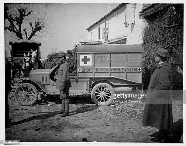 A group of ambulance drivers parked at a Red Cross station on the Italian front during World War I