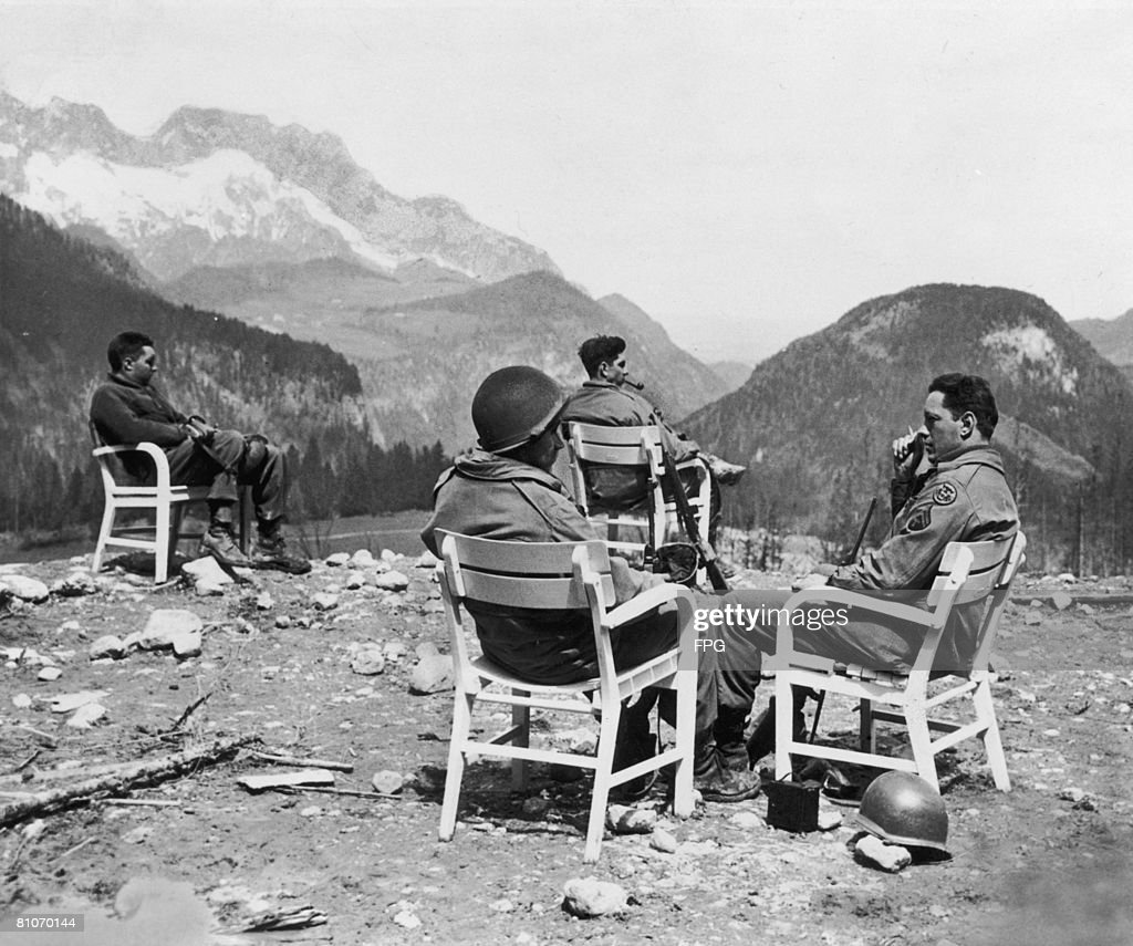 A group of American soldiers at Berchtesgaden, Germany, the former home of Adolf Hitler, circa 1945.