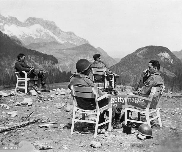 A group of American soldiers at Berchtesgaden Germany the former home of Adolf Hitler circa 1945
