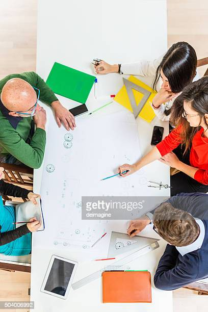 Group of architects working for a project