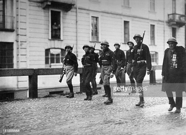 A group of armed Fascists controlling via San Marco in Milan Milan October 1922