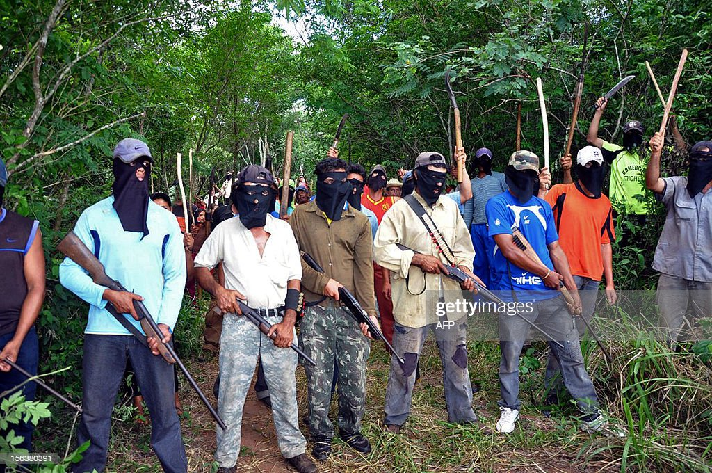 A group of armed landless peasants occupy the lands of rancher Jaime Peña in Santa Rosa district, department of San Pedro, 300 km north of Asuncion -- one of the richest areas of Paraguay -- on November 14, 2012. Around 1,500 landless peasants are demanding authorities to buy and hand them 3,000 hactares of the 7,000 belonging to Peña. AFP PHOTO/Alberto Espinola