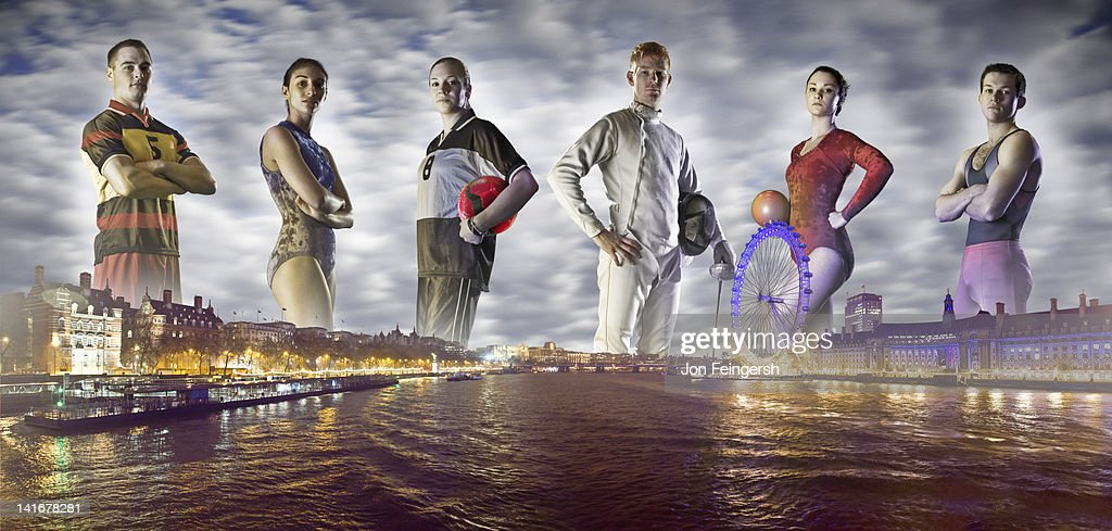 Group of Athletes on London Horizon : Stock Photo