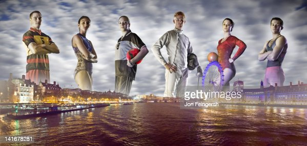 Group of Athletes on London Horizon : Stock Photo