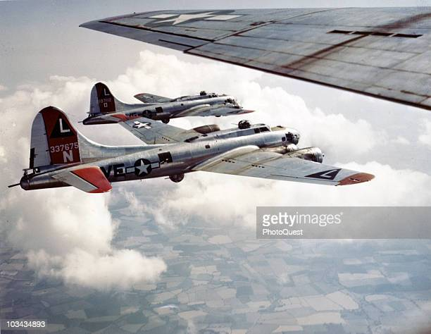 A group of B17 Flying Fotress bombers from the 8th Air Force practice the box formation above England ca1940s