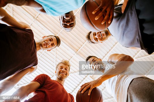 Group of basketball player looking at the camera