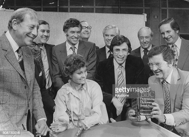 A group of BBC Television newsreaders Peter Woods John Snagge Corbett Woodall Bob Langley Angela Rippon Colin Doran Kenneth Kendall Richard Whitmore...