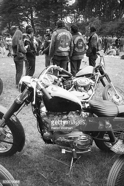 A group of bikers gather at the Human Be In Festival Golden Gate Park San Francisco CA on January 14 1967