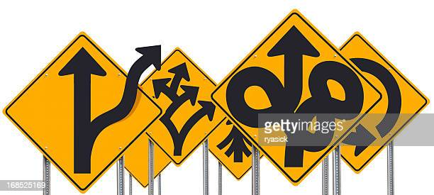 Group Of Bizarre Odd Unusual Road Signs Isolated on White