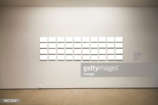 Group of blank frames on the wall at art gallery