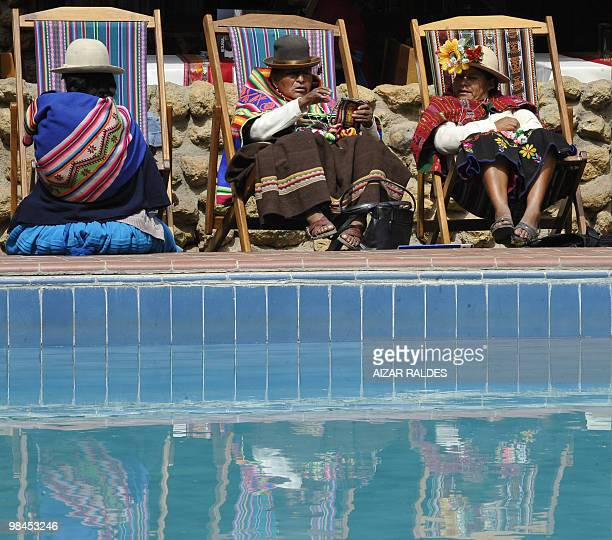 A group of Bolivian natives take a break during the 1st Summit of Social Movement Councils in the framework of the VII Summit Latin American ALBA...