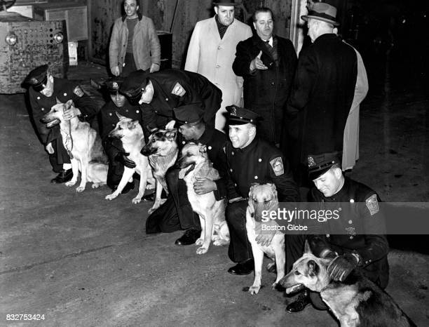 A group of Boston Police officers are pictured with police dogs on Feb 3 1963 From left in front row are William Keasley Robert Armstead Ed Gaughan...