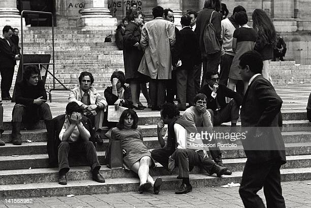 A group of boys and girls are sat down on the stairs at the entrance of the Sorbonne headquarter which has been occupied since the 13th of May The...