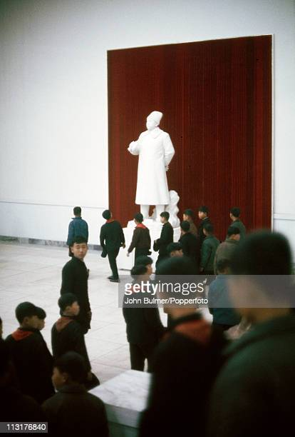 A group of boys from a youth organization visiting a museum North Korea February 1973