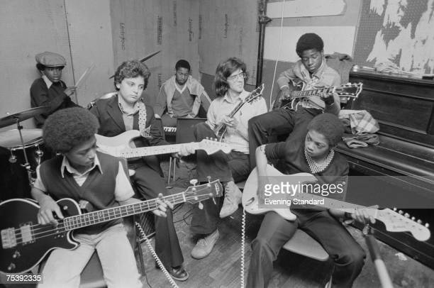A group of boys practising their instruments at the CLYP youth club 19th October 1978