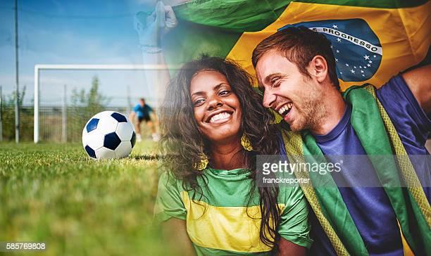 Gruppe von brasilianische Fan im Stadion
