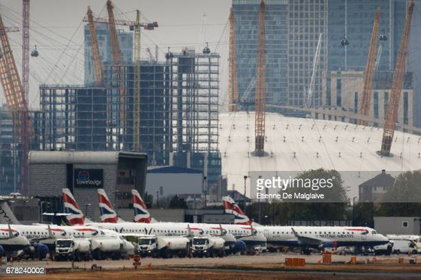 Group of British Airways Embraer ERJ 190 at the London City Airport LCY on April 20 2017 in London England