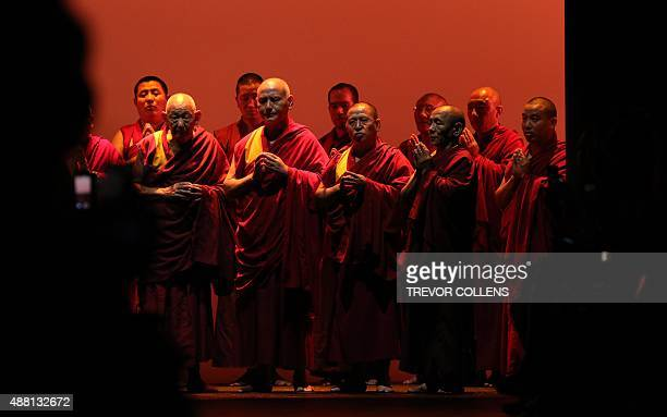 A group of Buddhist monks chant at the start of the Prabal Gurung presentation at New York Fashion Week in New York on September 13 2015 AFP...