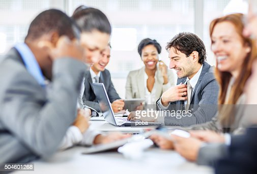 group of business people discussing work
