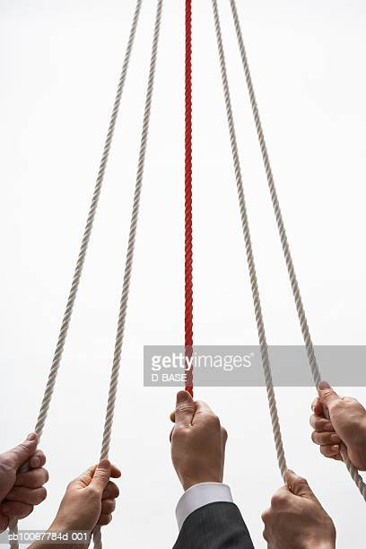 Group of business people holding ropes, close-up of hands