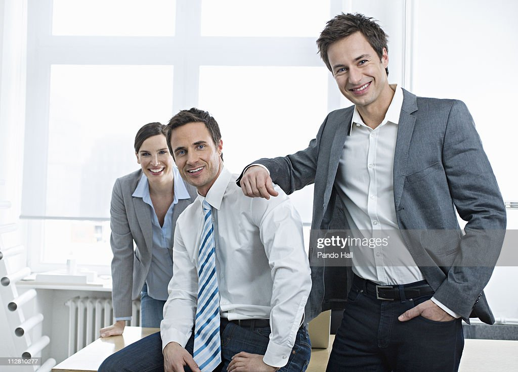 Group of  business people in office smiling : Stock Photo