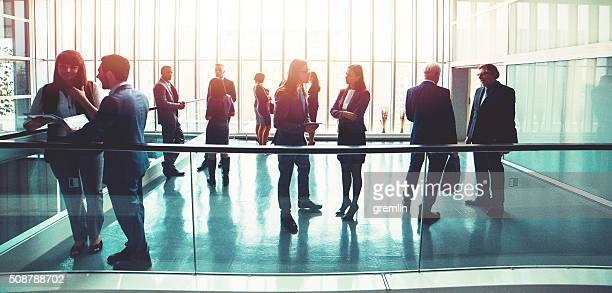 Group of business people in the office building lobby