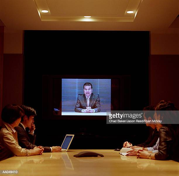 Group of business people in video conference meeting