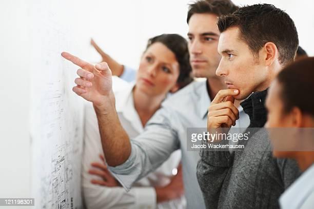Groupe de gens d'affaires à la recherche à un tableau