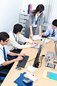 Group of business people working in office, China, Beijing