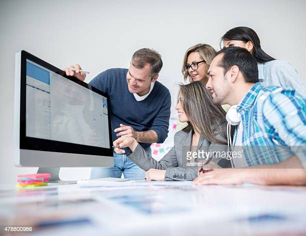 Group of business people working online