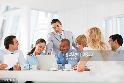 Group of businesspeople having a meeting. : Stock Photo