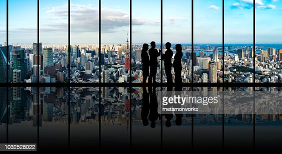 Group of businessperson in front of the urban cityscape. : Foto de stock