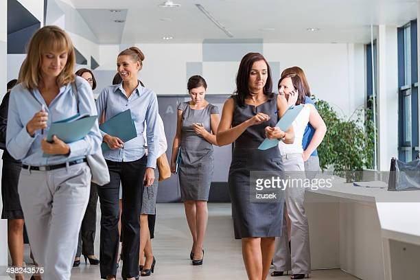 Group of businesswomen walking