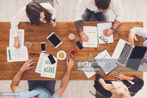 Group of busy business people working in office, top view : Foto de stock