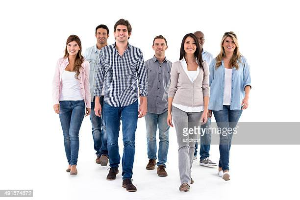 Group of casual people walking