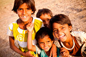 Group of Cheerful Rural Indian Children in Rajasthan