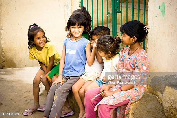Group of Cheerful Rural Indian Girls