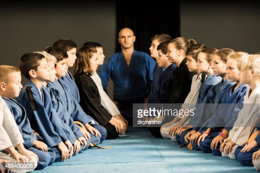 Group of children on a karate training.