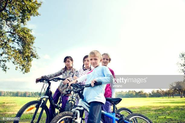 Group of children on bikes