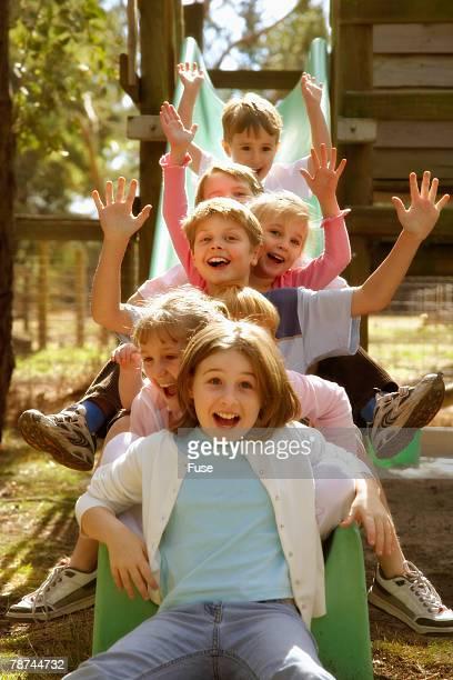 Group of Children on Slide
