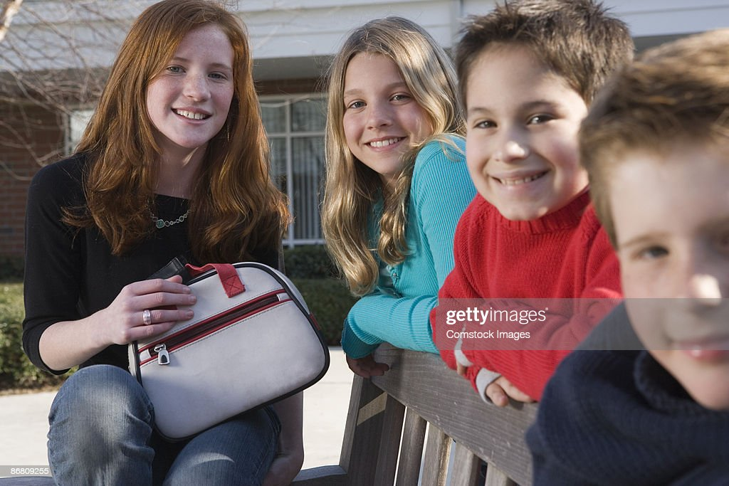 Group of children outdoors : Stock Photo