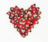 Group of children standing in heart formation
