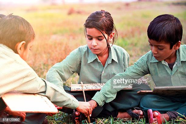 Group of children studying concept outdoor