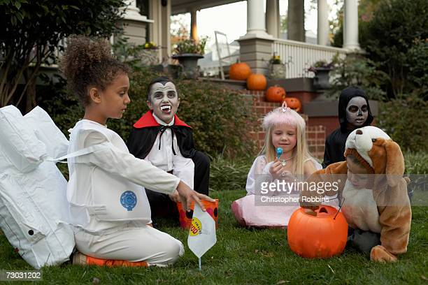Group of children (3-4, 6-7) wearing Halloween costumes sitting on lawn