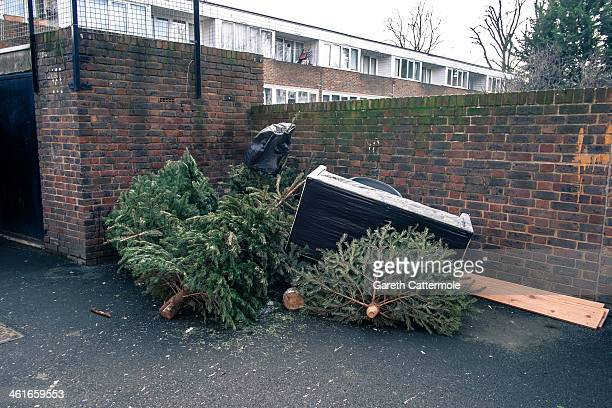 A group of Christmas trees lie amongst rubbish and a sofa in Angel on January 8 2014 in London England In the lead up to Christmas a pine tree is the...